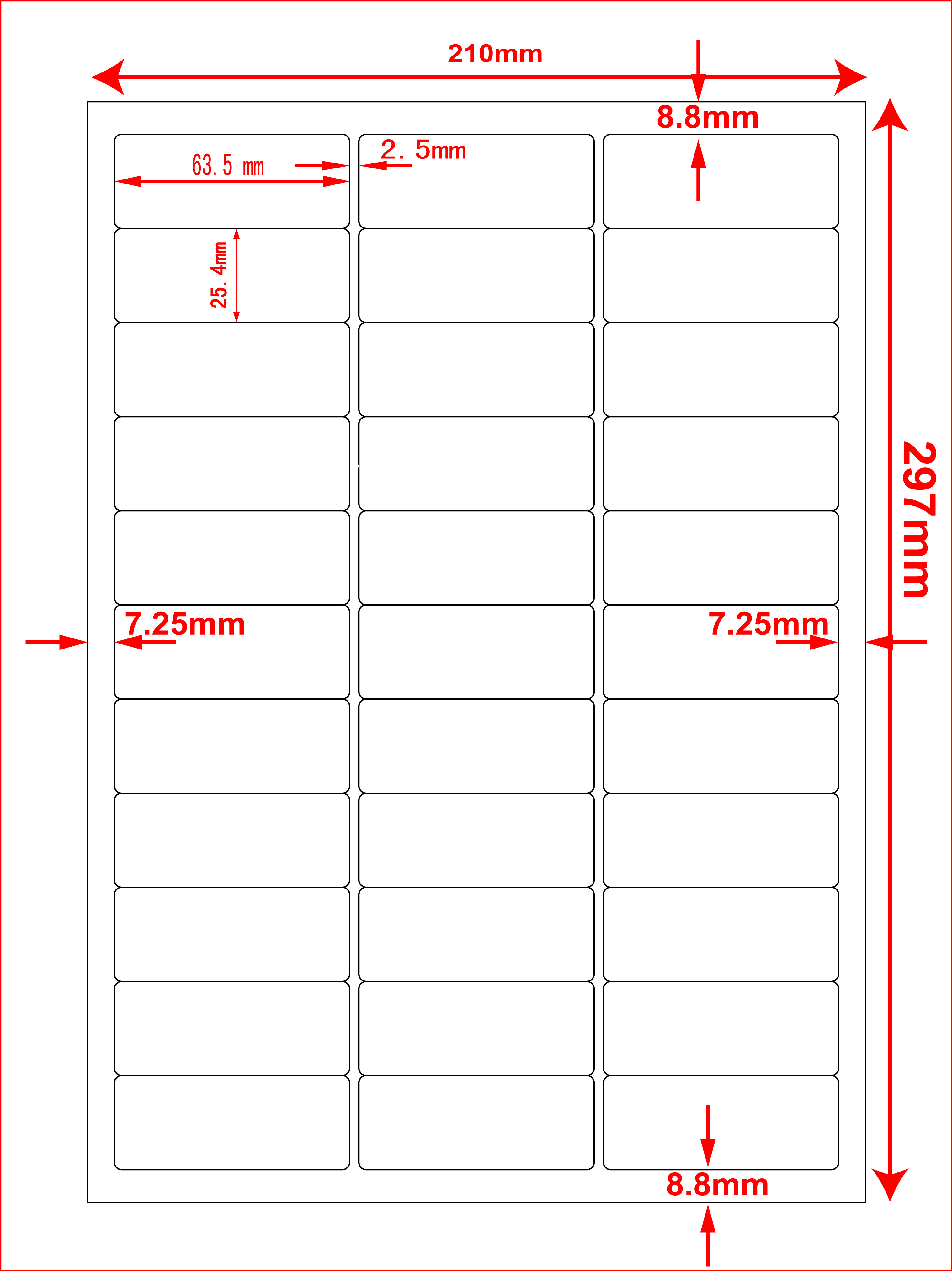 10x A4 sheets - 33 labels per sheet